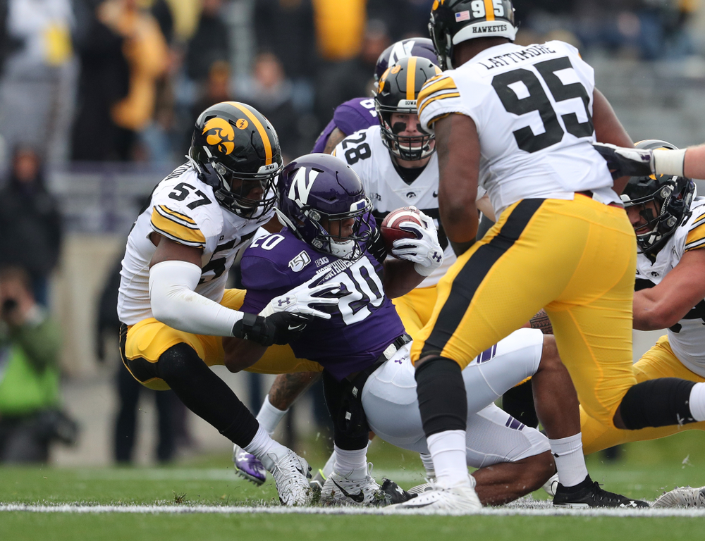 Iowa Hawkeyes defensive end Chauncey Golston (57) against the Northwestern Wildcats Saturday, October 26, 2019 at Ryan Field in Evanston, Ill. (Brian Ray/hawkeyesports.com)