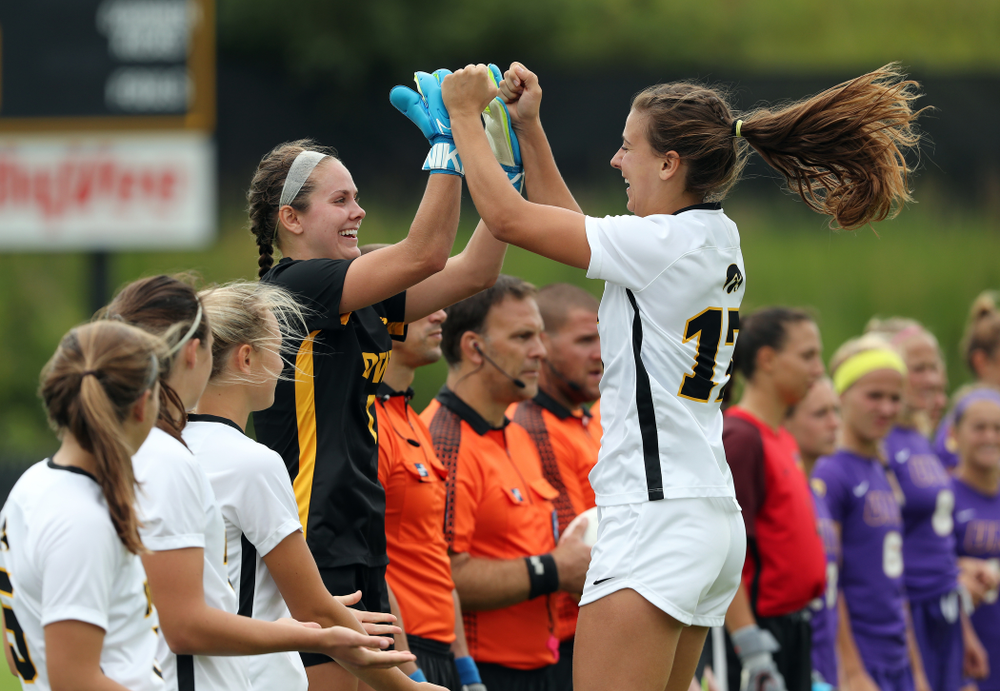 Iowa Hawkeyes goalkeeper Claire Graves (1) and defender Hannah Drkulec (17) during a 6-1 win over Northern Iowa Sunday, August 25, 2019 at the Iowa Soccer Complex. (Brian Ray/hawkeyesports.com)