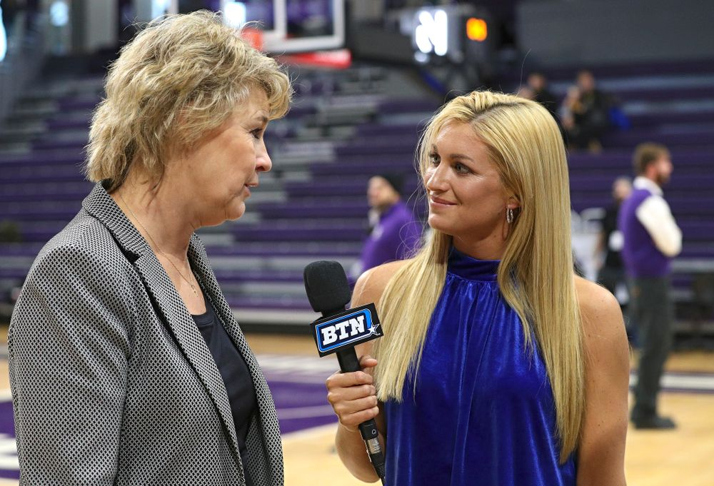 Iowa Hawkeyes head coach Lisa Bluder is interviewed after winning their game at Welsh-Ryan Arena in Evanston, Ill. on Sunday, January 5, 2020. (Stephen Mally/hawkeyesports.com)