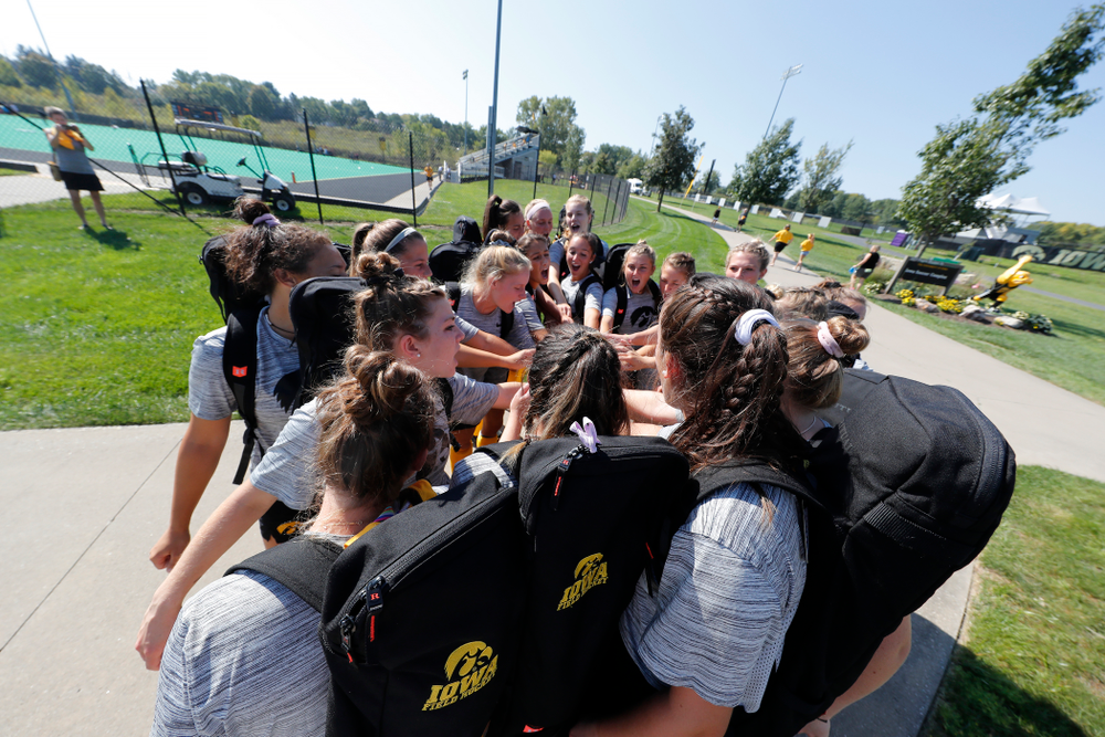 The Iowa Hawkeyes gather before their game  against Indiana Sunday, September 16, 2018 at Grant Field. (Brian Ray/hawkeyesports.com)