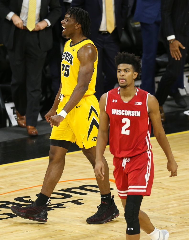 Iowa Hawkeyes forward Tyler Cook (25) reacts after a defensive stop against Wisconsin on November 30, 2018 at Carver-Hawkeye Arena. (Tork Mason/hawkeyesports.com)