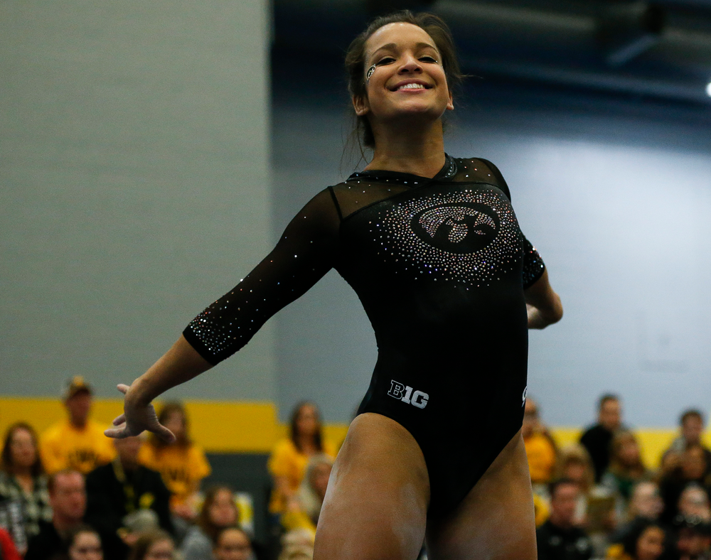 Gina Leal competes in the floor exercise during the Black and Gold Intrasquad meet at the Field House on 12/2/17. (Tork Mason/hawkeyesports.com)