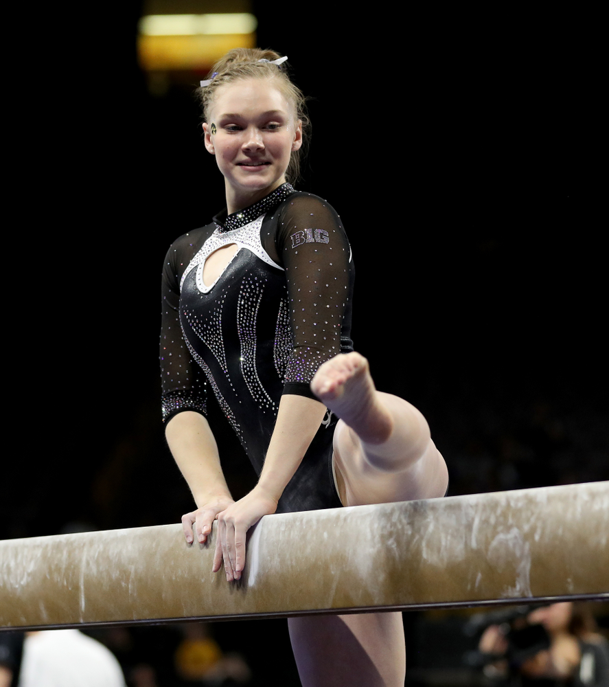 Iowa's Allyson Steffensmeier competes on the beam against Michigan State Saturday, February 1, 2020 at Carver-Hawkeye Arena. (Brian Ray/hawkeyesports.com)