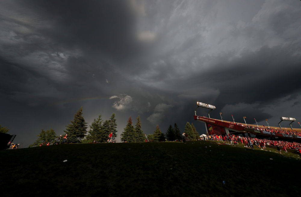 The sky begins to clear over Jack Trice Stadium during a weather delay in the Iowa Hawkeyes game against the Iowa State Cyclones Saturday, September 14, 2019 in Ames, Iowa. (Brian Ray/hawkeyesports.com)