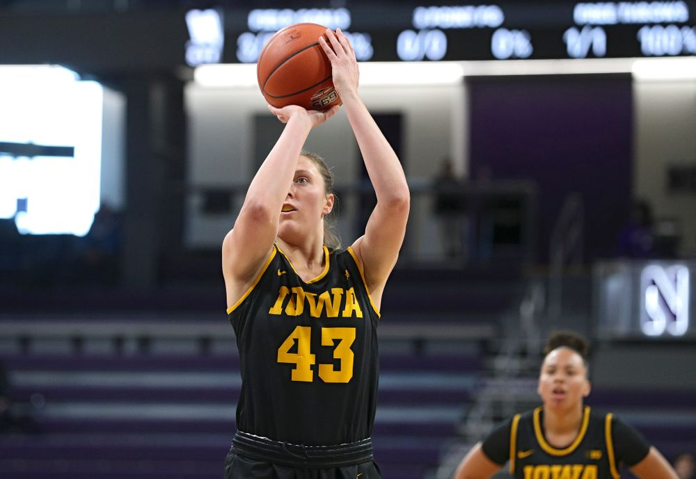 Iowa Hawkeyes forward Amanda Ollinger (43) makes a free throw during the first quarter of their game at Welsh-Ryan Arena in Evanston, Ill. on Sunday, January 5, 2020. (Stephen Mally/hawkeyesports.com)