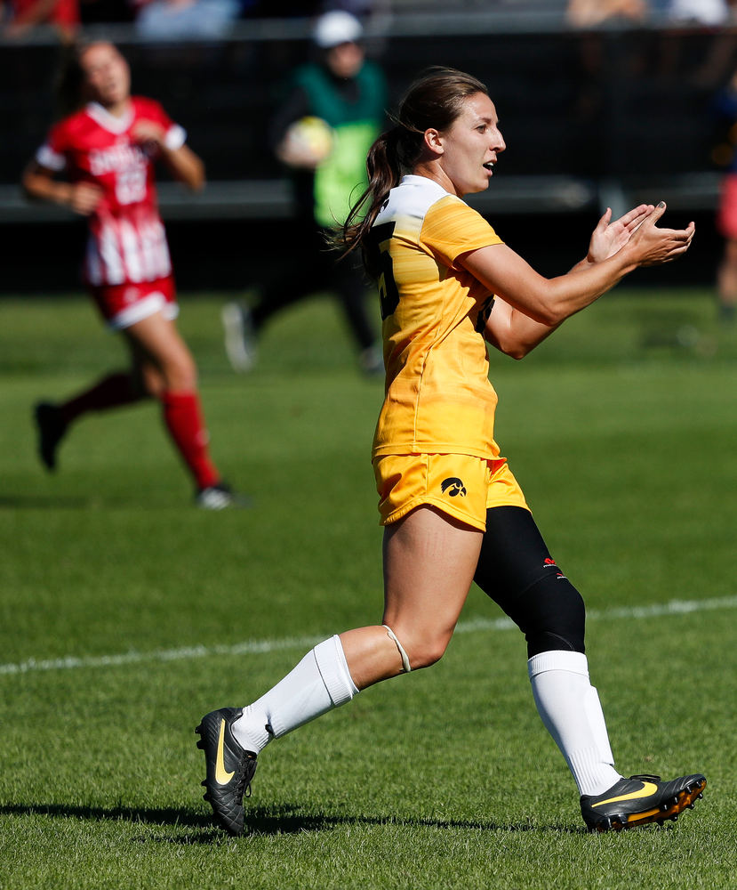 Iowa Hawkeyes forward Rose Ripslinger (15) celebrates after scoring a goal during a game against Indiana at the Iowa Soccer Complex on September 23, 2018. (Tork Mason/hawkeyesports.com)
