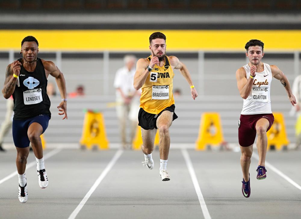 Iowa's Josh Braverman runs the men's 60 meter dash event at the Black and Gold Invite at the Recreation Building in Iowa City on Saturday, February 1, 2020. (Stephen Mally/hawkeyesports.com)
