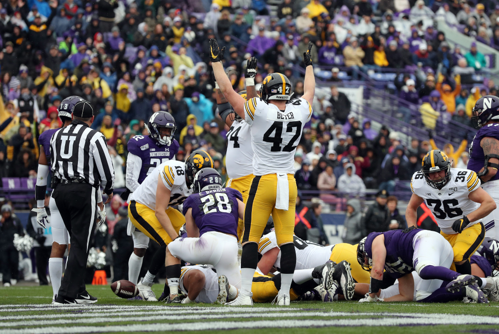 Iowa Hawkeyes tight end Shaun Beyer (42) celebrates a touchdown against the Northwestern Wildcats Saturday, October 26, 2019 at Ryan Field in Evanston, Ill. (Brian Ray/hawkeyesports.com)
