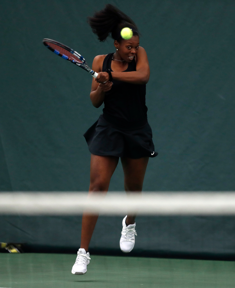 Adorabol Huckleby against Ohio State Sunday, March 25, 2018 at the Hawkeye Tennis and Recreation Center. (Brian Ray/hawkeyesports.com)