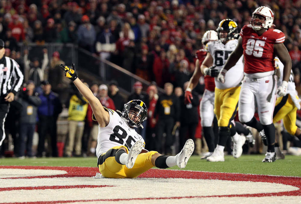 Iowa Hawkeyes wide receiver Nico Ragaini (89) against the Wisconsin Badgers Saturday, November 9, 2019 at Camp Randall Stadium in Madison, Wisc. (Brian Ray/hawkeyesports.com)
