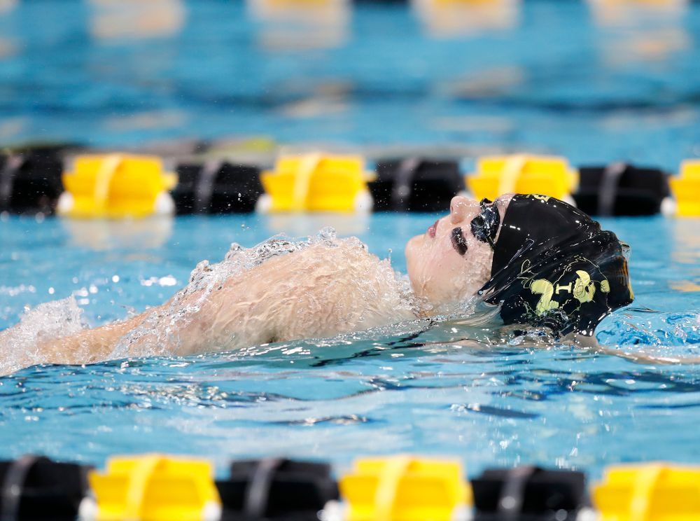 Hannah Burvill swims the backstroke leg of the 200 yard medley relay during the Black and Gold Intrasquad Saturday, September 29, 2018 at the Campus Recreation and Wellness Center. (Brian Ray/hawkeyesports.com)