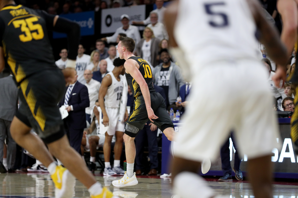 Iowa Hawkeyes guard Joe Wieskamp (10 celebrates a three point basket against Penn State Saturday, January 4, 2020 at the Palestra in Philadelphia. (Brian Ray/hawkeyesports.com)