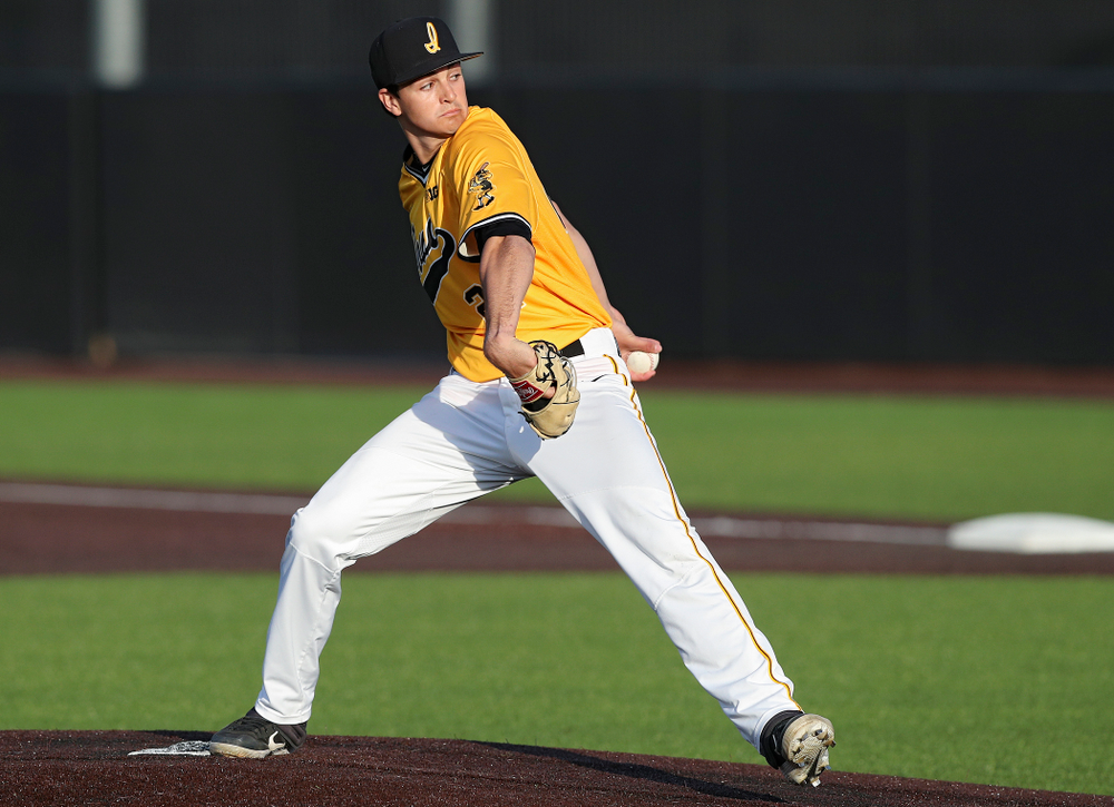 Iowa Hawkeyes pitcher Jason Foster (27) delivers to the plate during the seventh inning of their game against Northern Illinois at Duane Banks Field in Iowa City on Tuesday, Apr. 16, 2019. (Stephen Mally/hawkeyesports.com)