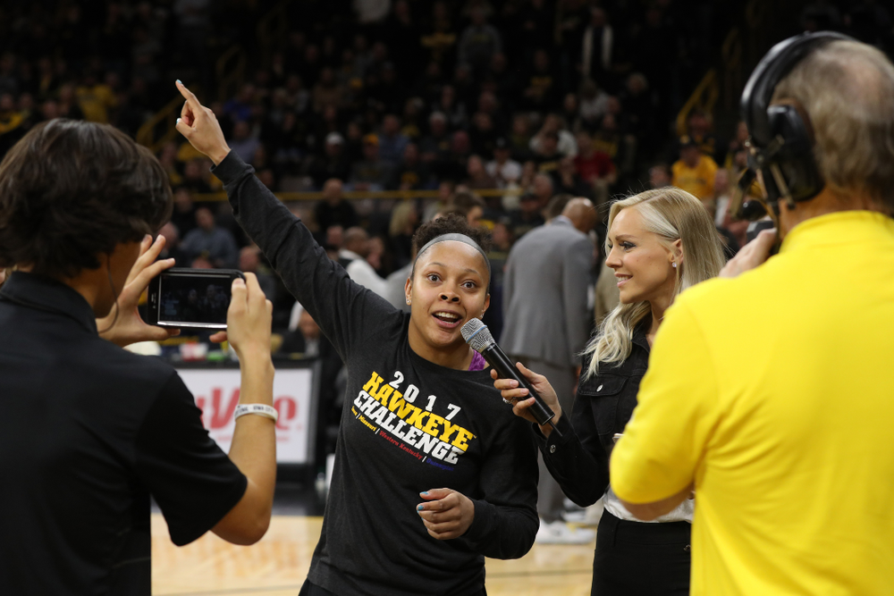 Iowa Women's Basketball guard Tania Davis addresses the crowd during the Iowa Hawkeyes game against the Michigan State Spartans Thursday, January 24, 2019 at Carver-Hawkeye Arena. (Brian Ray/hawkeyesports.com)