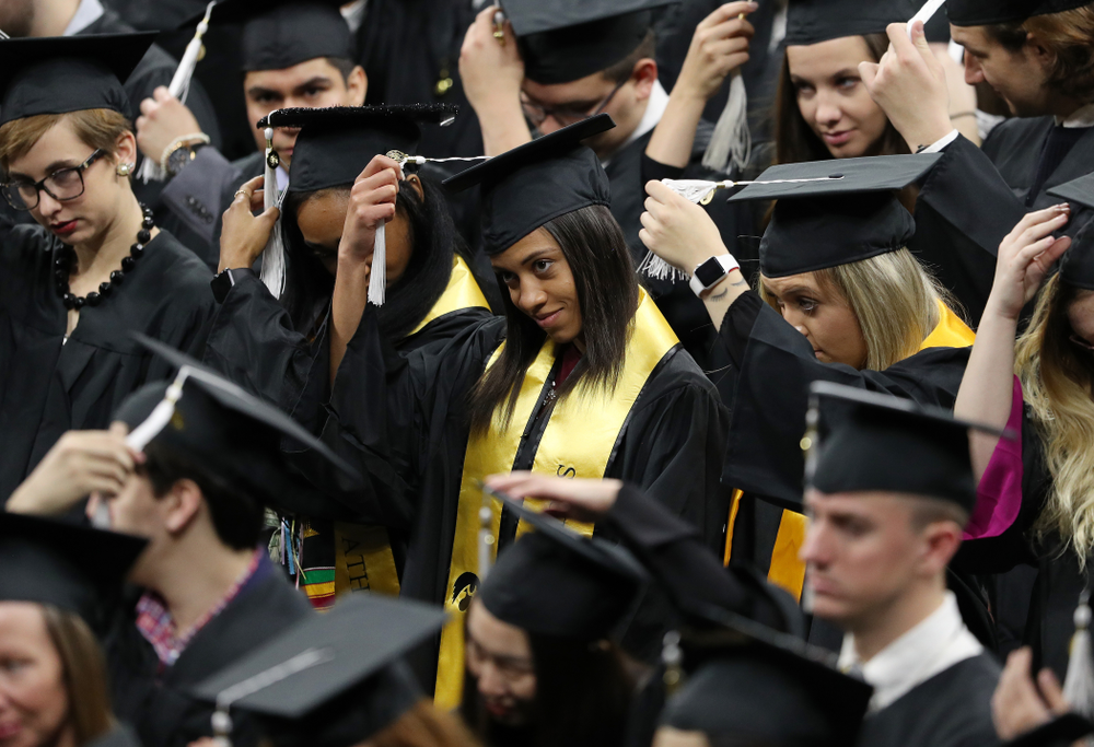 Iowa Track's Alexis Gay and Briana Guillory during the Fall Commencement Ceremony  Saturday, December 15, 2018 at Carver-Hawkeye Arena. (Brian Ray/hawkeyesports.com)