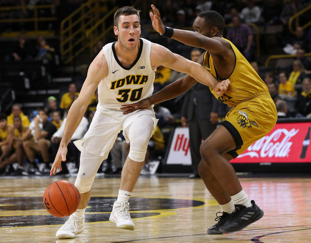 Iowa Hawkeyes guard Connor McCaffery (30) drives to the basket during a game against Alabama State at Carver-Hawkeye Arena on November 21, 2018. (Tork Mason/hawkeyesports.com)