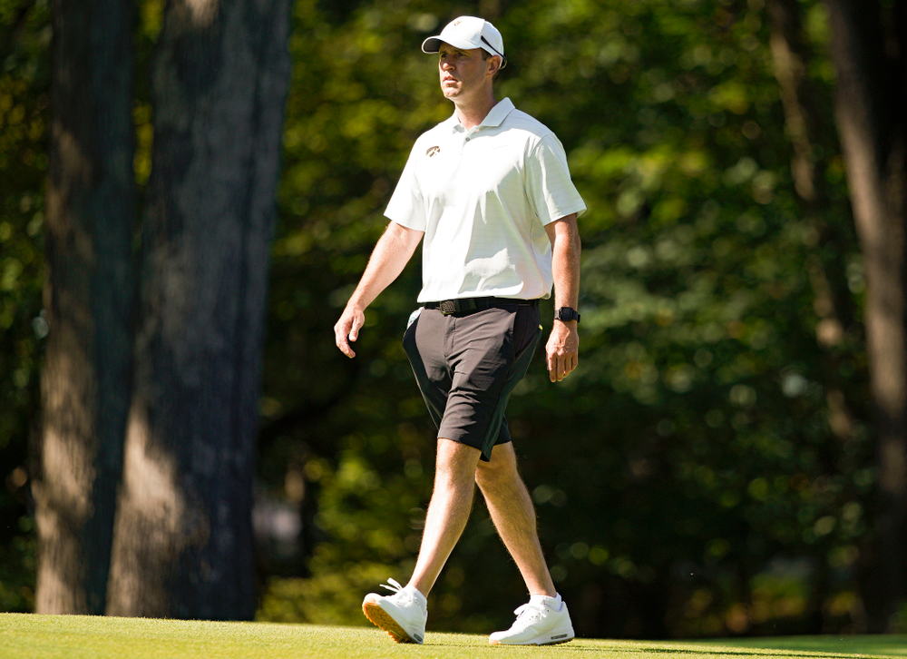 Iowa head coach Tyler Stith walks down the fairway during the second day of the Golfweek Conference Challenge at the Cedar Rapids Country Club in Cedar Rapids on Monday, Sep 16, 2019. (Stephen Mally/hawkeyesports.com)