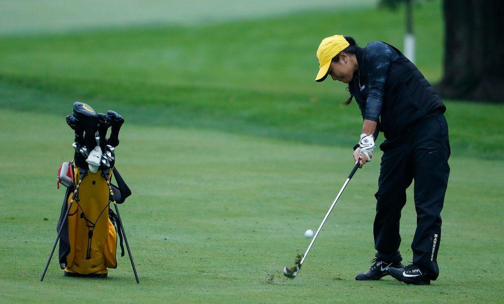 Iowa's Rachel Fujitani hits an approach shot during the final round of the Diane Thomason Invitational at Finkbine Golf Course on September 30, 2018. (Tork Mason/hawkeyesports.com)