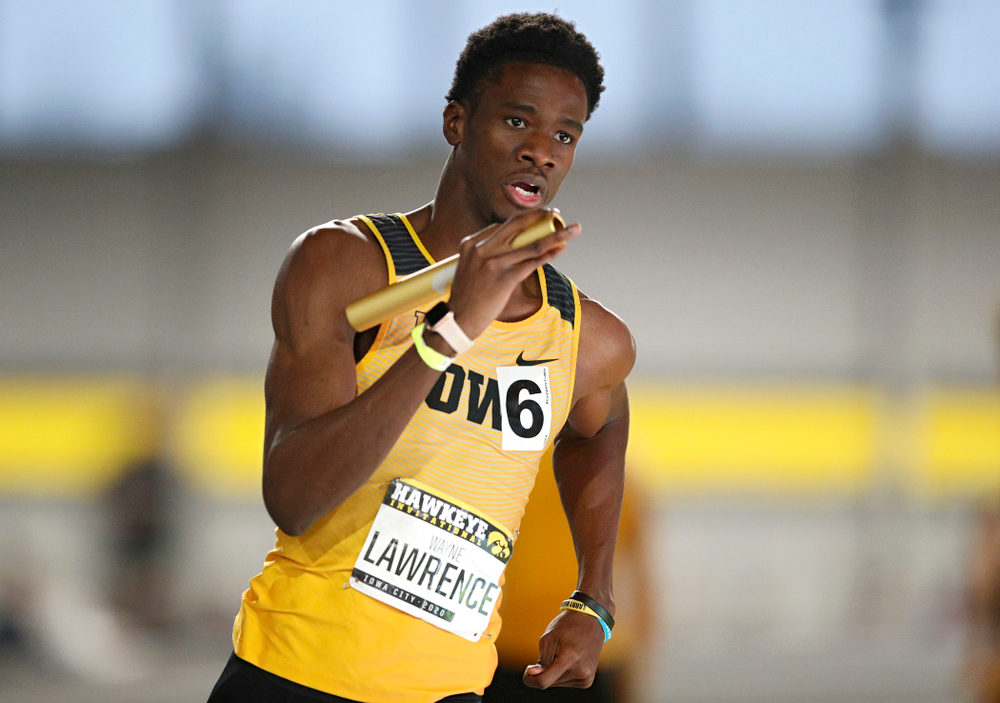 Iowa's Wayne Lawrence Jr. runs the men's 1600 meter relay event during the Hawkeye Invitational at the Recreation Building in Iowa City on Saturday, January 11, 2020. (Stephen Mally/hawkeyesports.com)