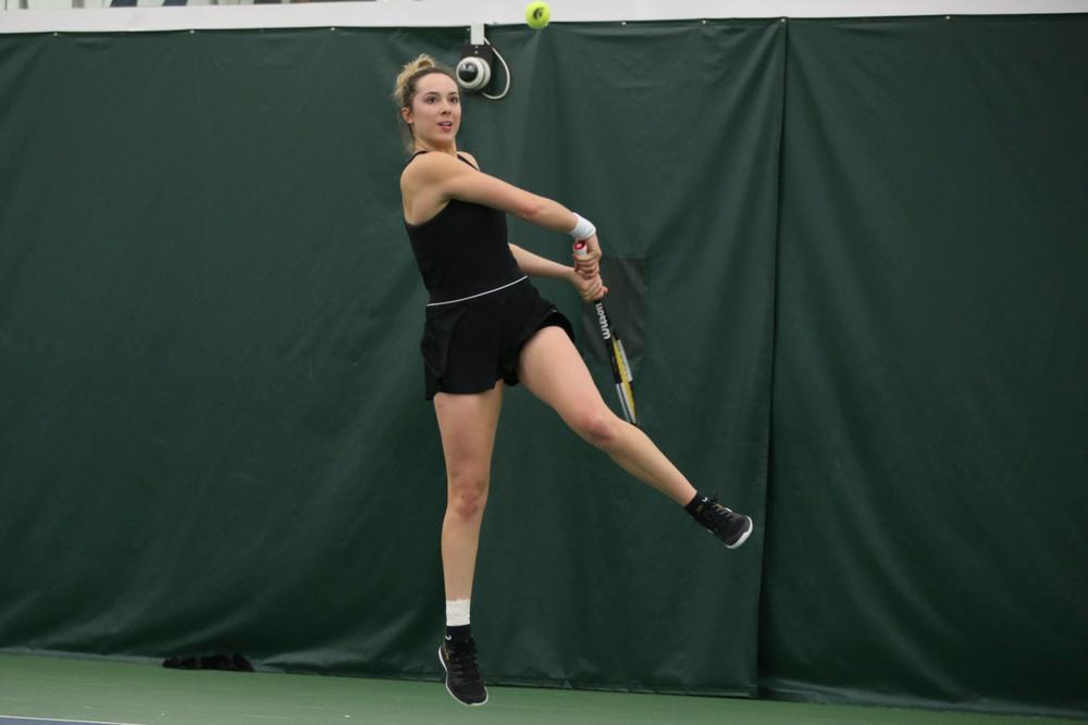 Iowa's Samantha Mannix returns a ball during the Iowa women's tennis meet vs UNI  on Saturday, February 29, 2020 at the Hawkeye Tennis and Recreation Complex. (Lily Smith/hawkeyesports.com)