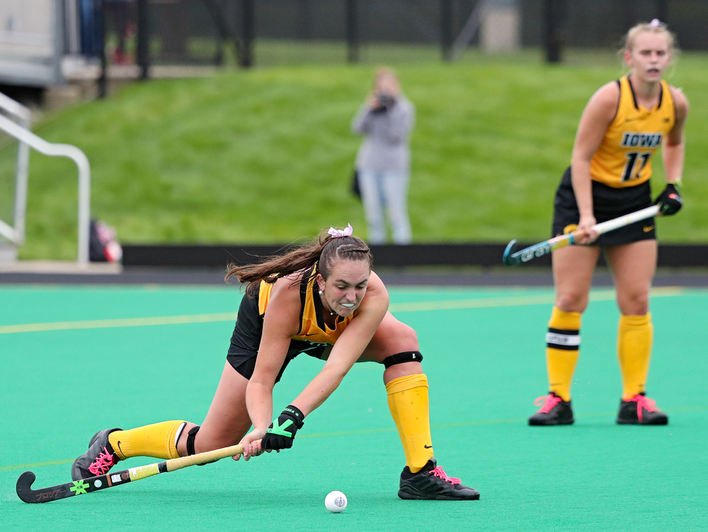 Iowa's Anthe Nijziel (6) scores a goal during the third quarter of their game against UC Davis at Grant Field in Iowa City on Sunday, Oct 6, 2019. (Stephen Mally/hawkeyesports.com)