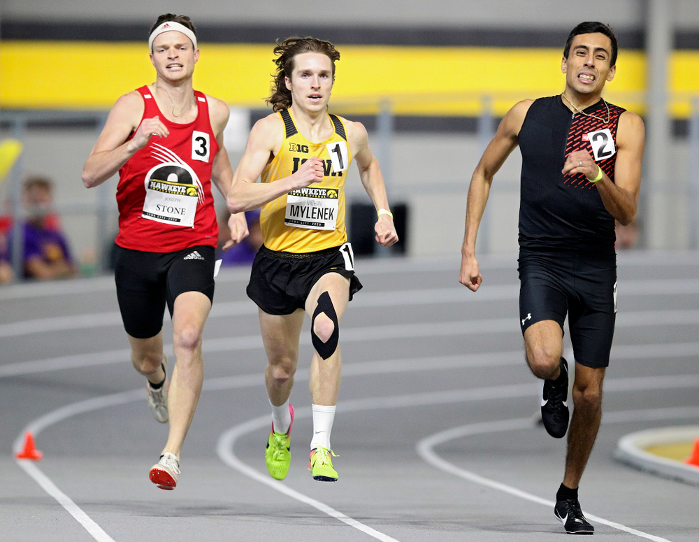 Iowa's Nathan Mylenek runs the men's 800 meter run event during the Hawkeye Invitational at the Recreation Building in Iowa City on Saturday, January 11, 2020. (Stephen Mally/hawkeyesports.com)