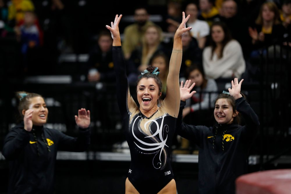 Iowa's Nikki Youd competes on the vault against the Nebraska Cornhuskers