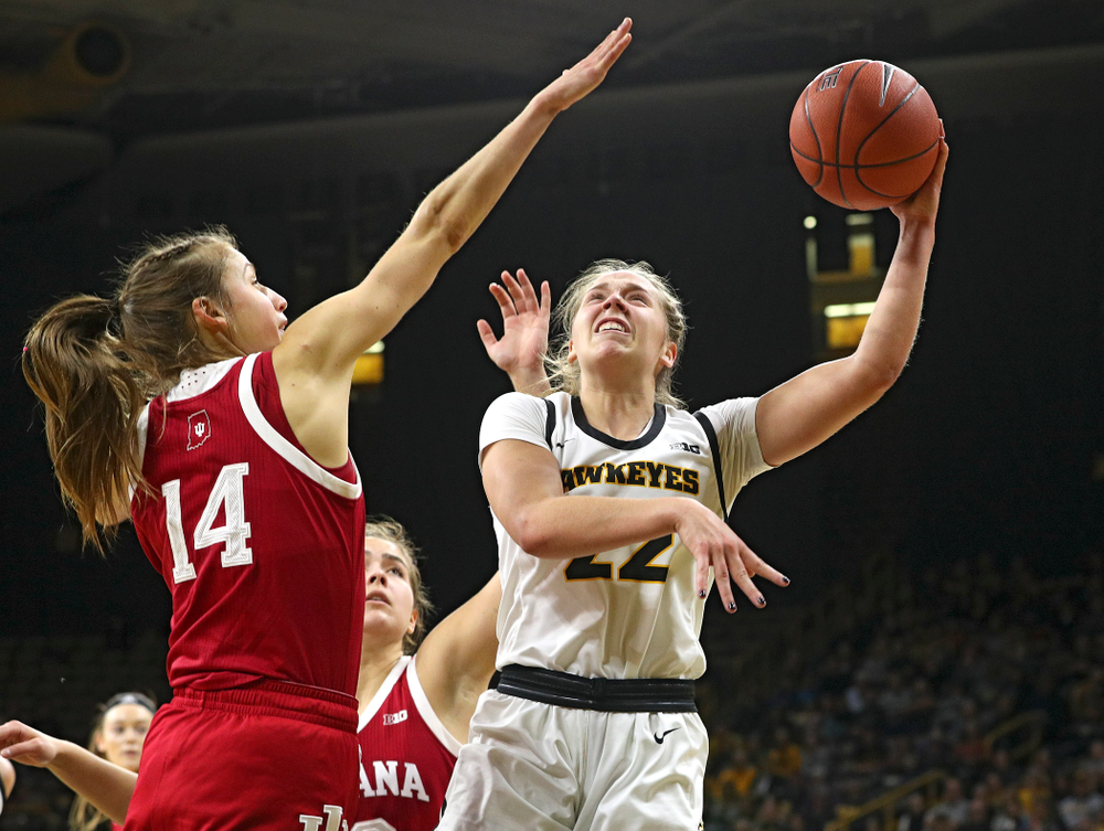 Iowa Hawkeyes guard Kathleen Doyle (22) puts up a shot during the second quarter of their game at Carver-Hawkeye Arena in Iowa City on Sunday, January 12, 2020. (Stephen Mally/hawkeyesports.com)