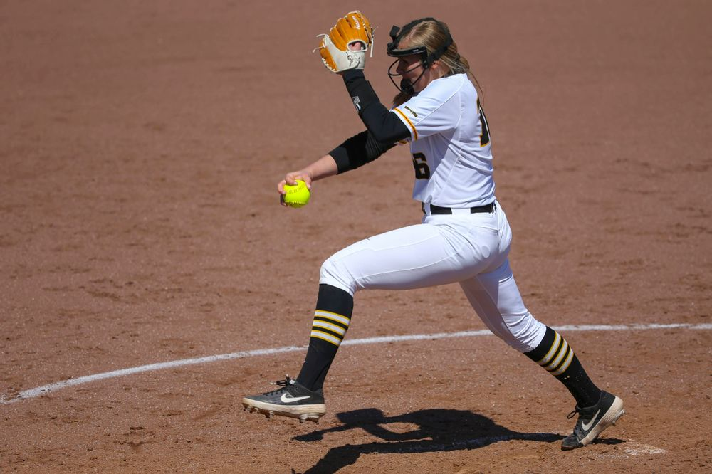 Iowa's Sarah Lehman (16) at game 3 vs Northwestern on Sunday, March 31, 2019 at Bob Pearl Field. (Lily Smith/hawkeyesports.com)