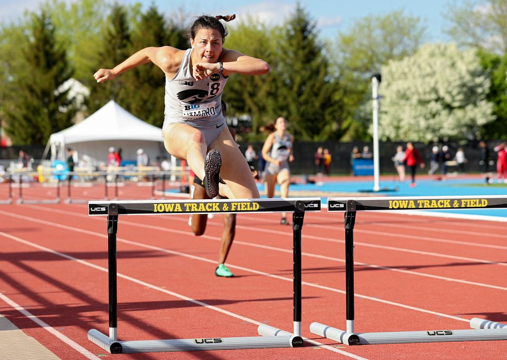 Iowa's Jenny Kimbro runs the women's 400 meter hurdles event on the first day of the Big Ten Outdoor Track and Field Championships at Francis X. Cretzmeyer Track in Iowa City on Friday, May. 10, 2019. (Stephen Mally/hawkeyesports.com)