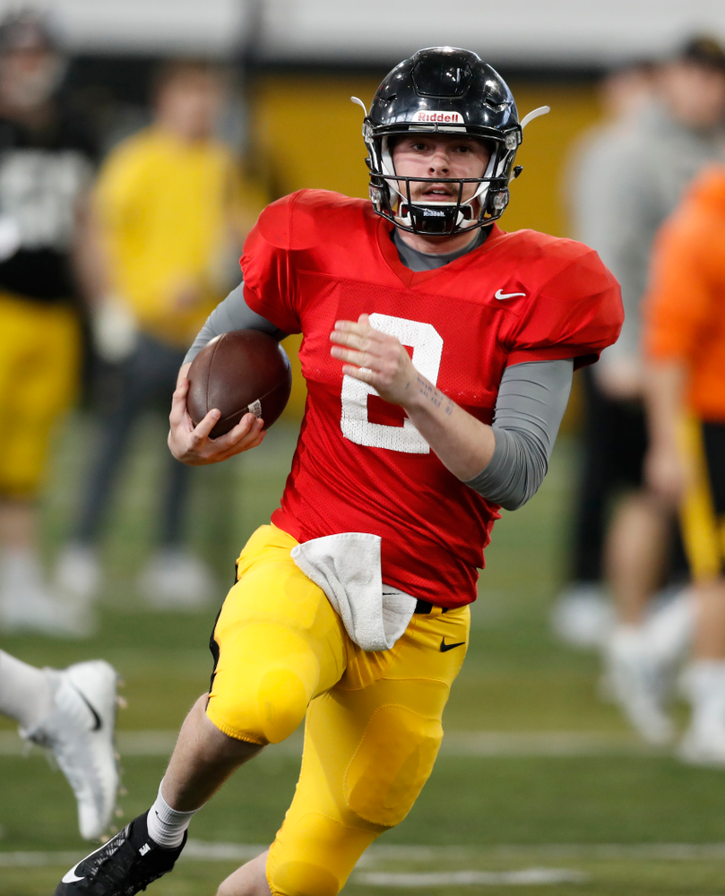 Iowa Hawkeyes quarterback Peyton Mansell (2) Wednesday, April 4, 2018 at the Hansen Football Performance Center. (Brian Ray/hawkeyesports.com)