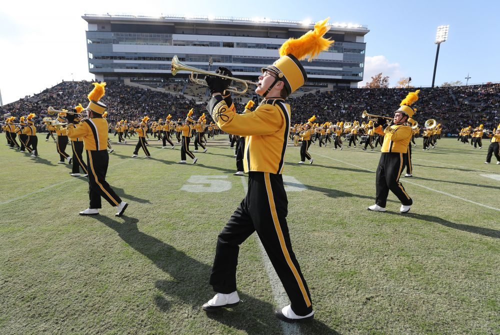 The Hawkeye Marching Band performs before the Iowa Hawkeyes game against the Purdue Boilermakers Saturday, November 3, 2018 Ross Ade Stadium in West Lafayette, Ind. (Brian Ray/hawkeyesports.com)