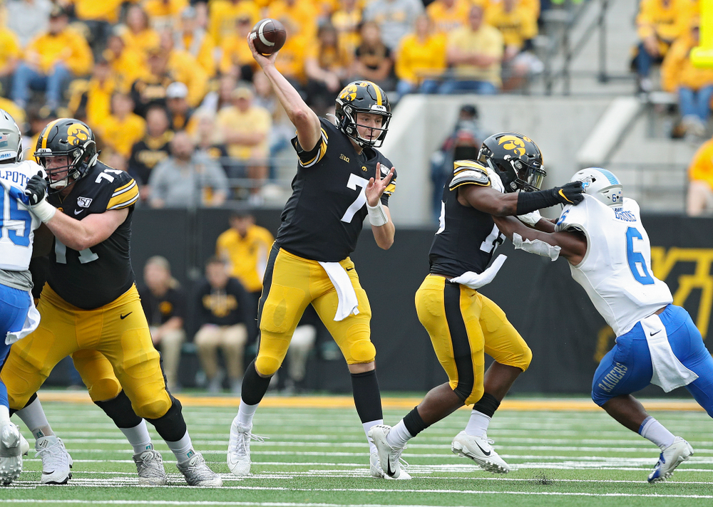 Iowa Hawkeyes quarterback Spencer Petras (7) throws a pass during fourth quarter of their game at Kinnick Stadium in Iowa City on Saturday, Sep 28, 2019. (Stephen Mally/hawkeyesports.com)