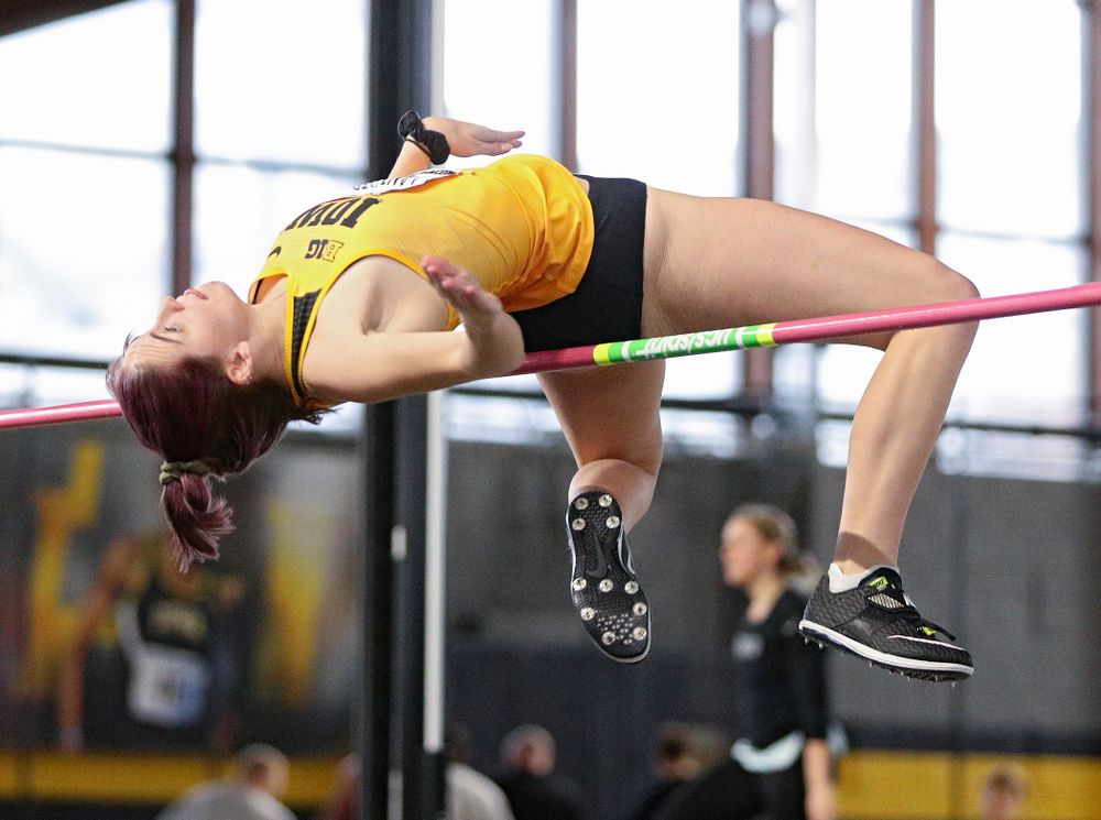 Iowa's Aubrianna Lantrip competes in the women's high jump event during the Hawkeye Invitational at the Recreation Building in Iowa City on Saturday, January 11, 2020. (Stephen Mally/hawkeyesports.com)