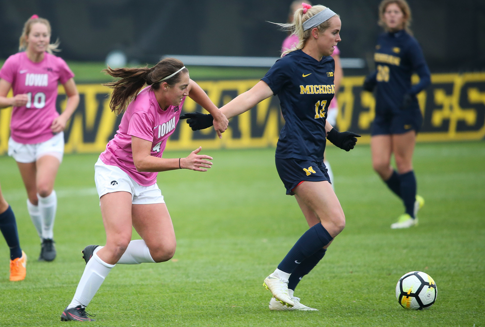 Iowa Hawkeyes forward Kaleigh Haus (4) defends during a game against Michigan at the Iowa Soccer Complex on October 14, 2018. (Tork Mason/hawkeyesports.com)