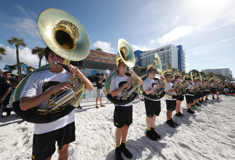 The Hawkeye Marching Band during the Outback Bowl Beach Day Sunday, December 30, 2018 at Clearwater Beach. (Brian Ray/hawkeyesports.com)
