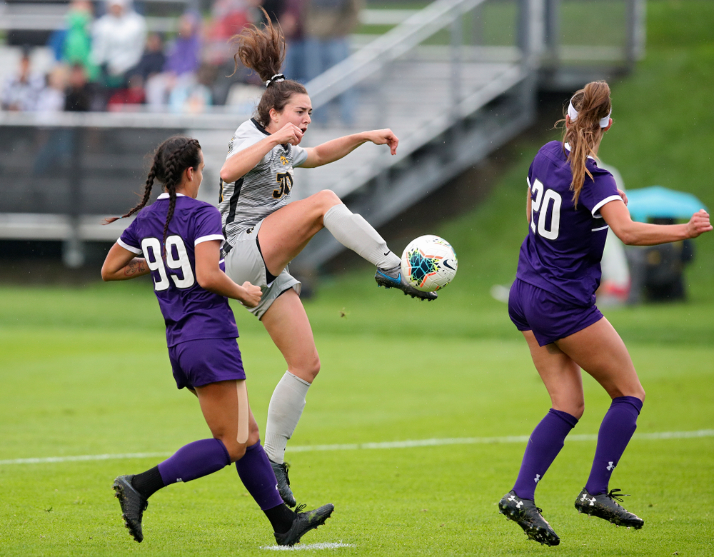 Iowa forward Devin Burns (30) tries to control the ball during the first half of their match at the Iowa Soccer Complex in Iowa City on Sunday, Sep 29, 2019. (Stephen Mally/hawkeyesports.com)