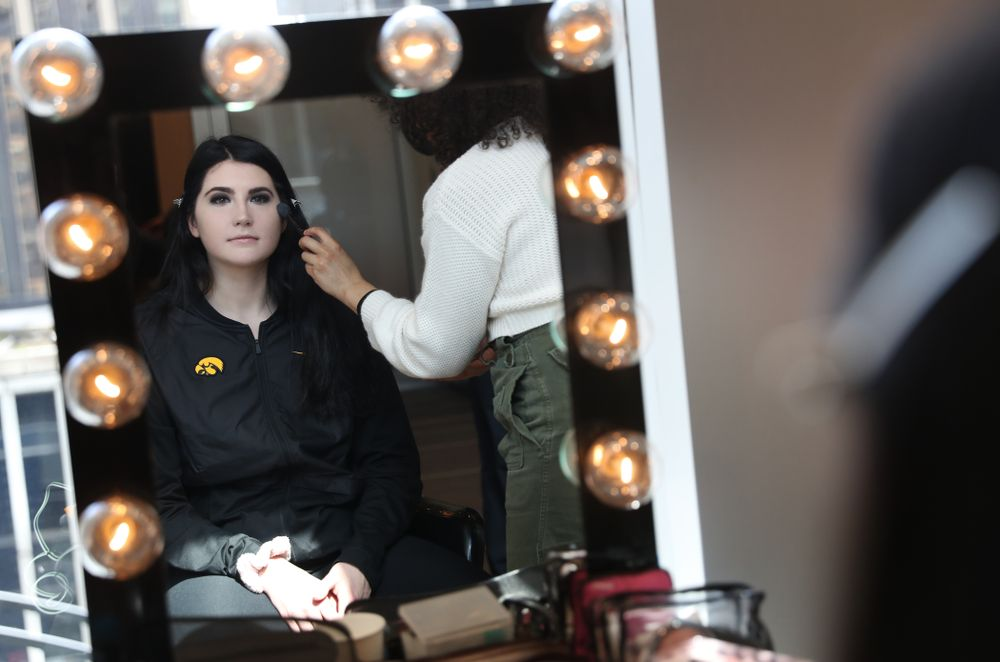 Iowa Hawkeyes forward Megan Gustafson (10) has her makeup professionally done before the 2019 WNBA Draft Wednesday, April 10, 2019 at Nike New York Headquarters in New York City. (Brian Ray/hawkeyesports.com)