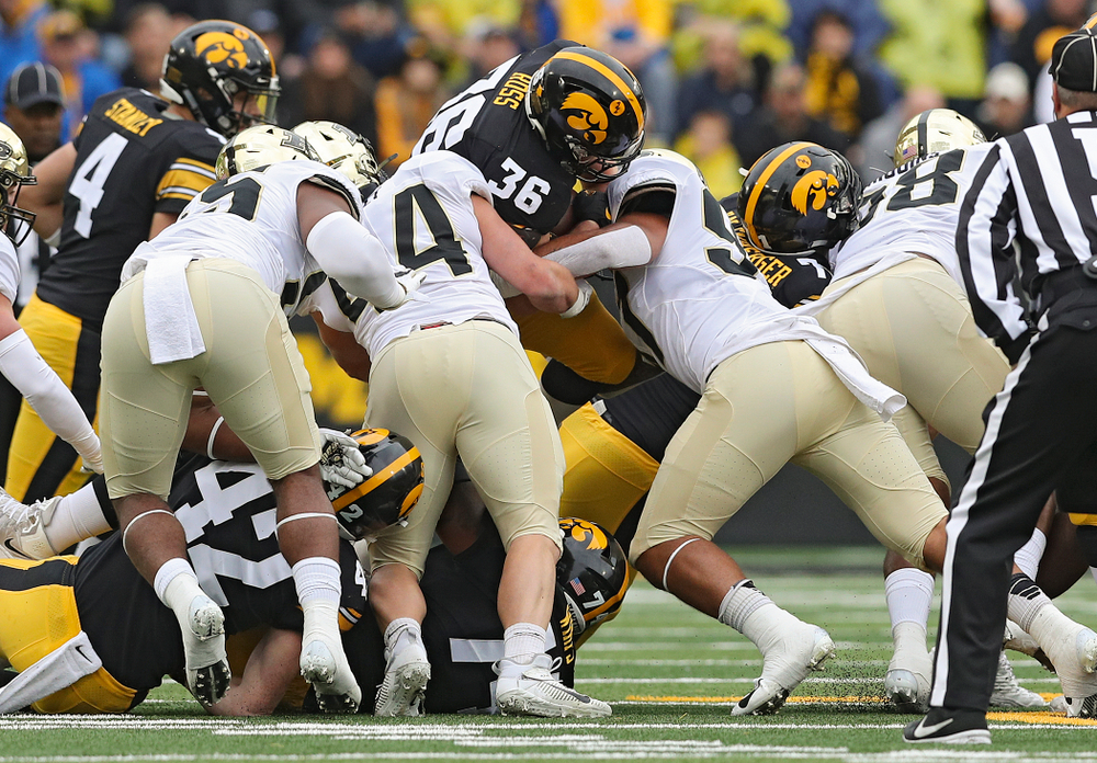 Iowa Hawkeyes fullback Brady Ross (36) on a run during the first quarter of their game at Kinnick Stadium in Iowa City on Saturday, Oct 19, 2019. (Stephen Mally/hawkeyesports.com)