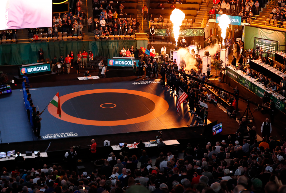 The teams are introduced during the United World Wrestling Freestyle World Cup Saturday, April 7, 2018 at Carver-Hawkeye Arena. (Brian Ray/hawkeyesports.com)