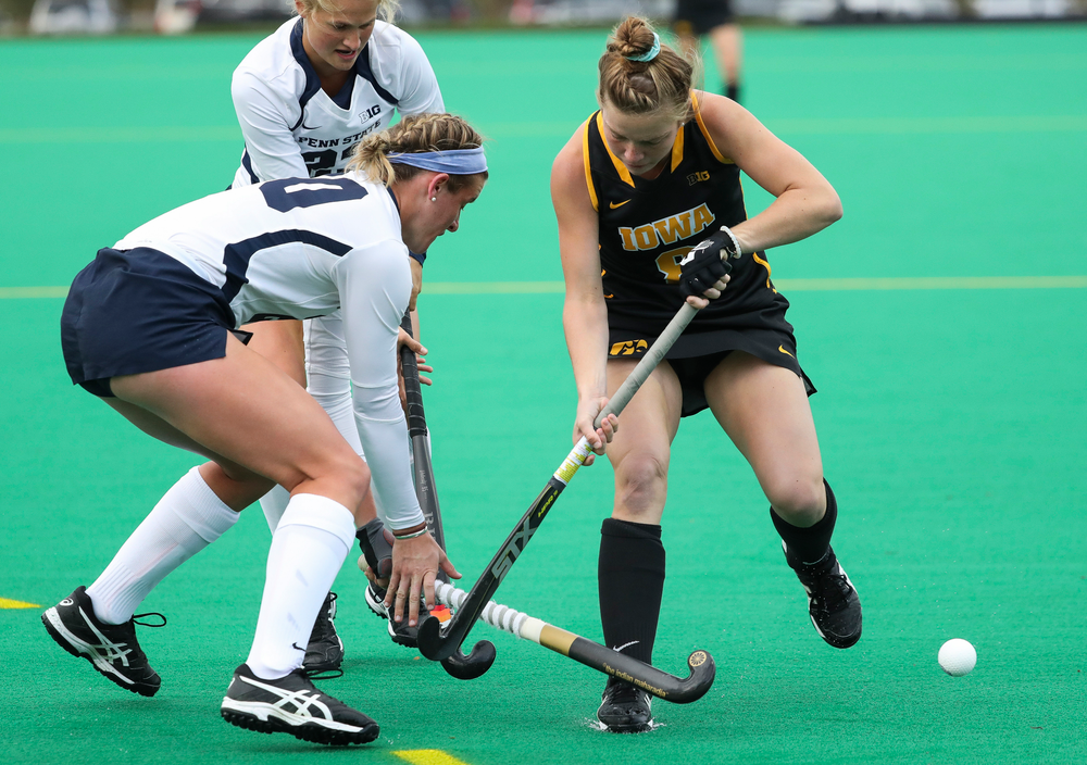 Iowa Hawkeyes midfielder Nikki Freeman (8) is fouled during a game against No. 6 Penn State at Grant Field on October 12, 2018. (Tork Mason/hawkeyesports.com)