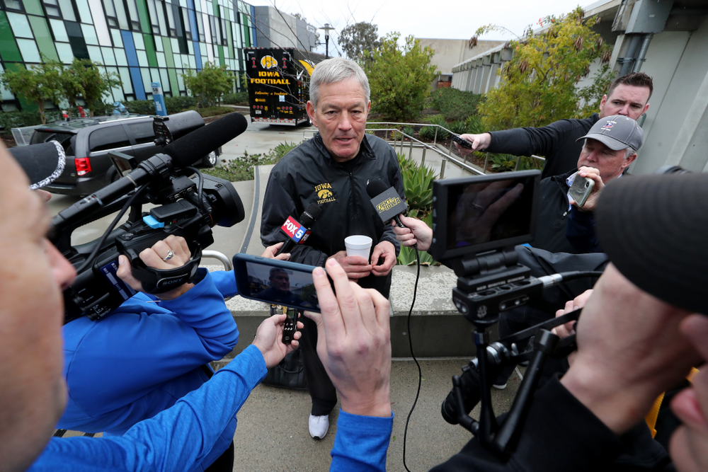 Iowa Hawkeyes head coach Kirk Ferentz answers questions from reporters following practice Monday, December 23, 2019 at Mesa College in San Diego. (Brian Ray/hawkeyesports.com)