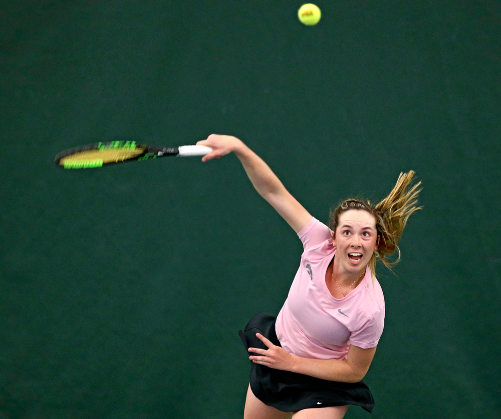 Iowa's Samantha Mannix serves during a match against Purdue at the Hawkeye Tennis and Recreation Complex in Iowa City on Friday, Mar. 29, 2019. (Stephen Mally/hawkeyesports.com)