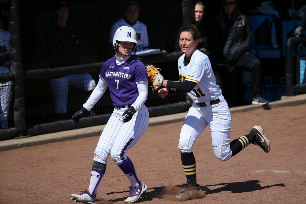 Iowa's Mallory Kilian (11) at game 3 vs Northwestern on Sunday, March 31, 2019 at Bob Pearl Field. (Lily Smith/hawkeyesports.com)