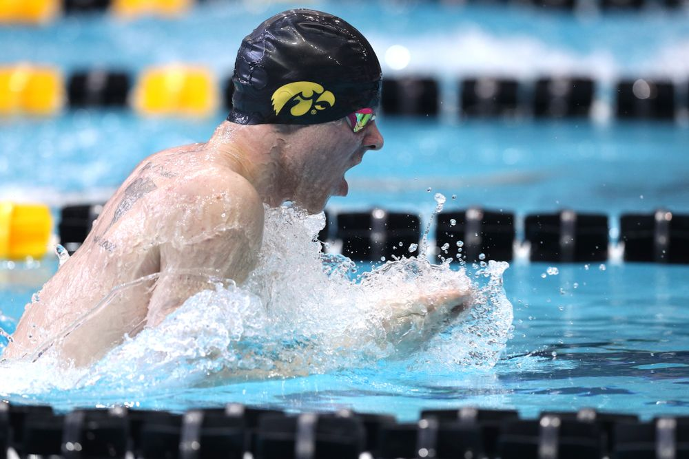 Iowa's Tanner Nelson competes in the 200-yard breaststroke during the 2019 Big Ten Men's Swimming and Diving Championships Saturday, March 2, 2019 at the Campus Wellness and Recreation Center. (Brian Ray/hawkeyesports.com)