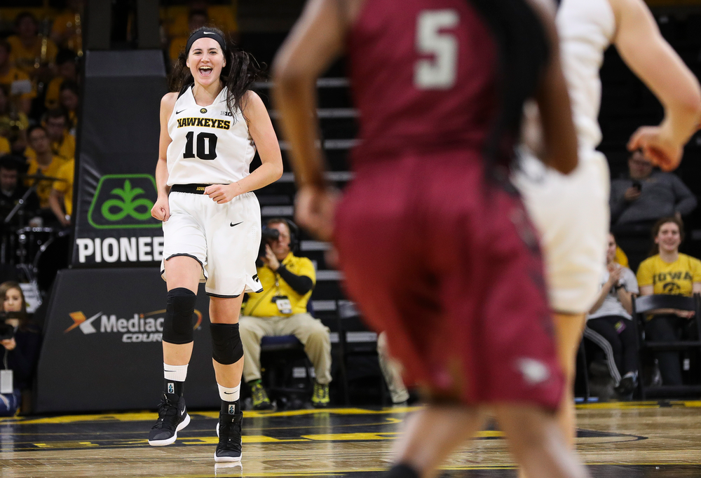 Iowa Hawkeyes forward Megan Gustafson (10) reacts after a made basket during a game against North Carolina Central at Carver-Hawkeye Arena on November 17, 2018. (Tork Mason/hawkeyesports.com)