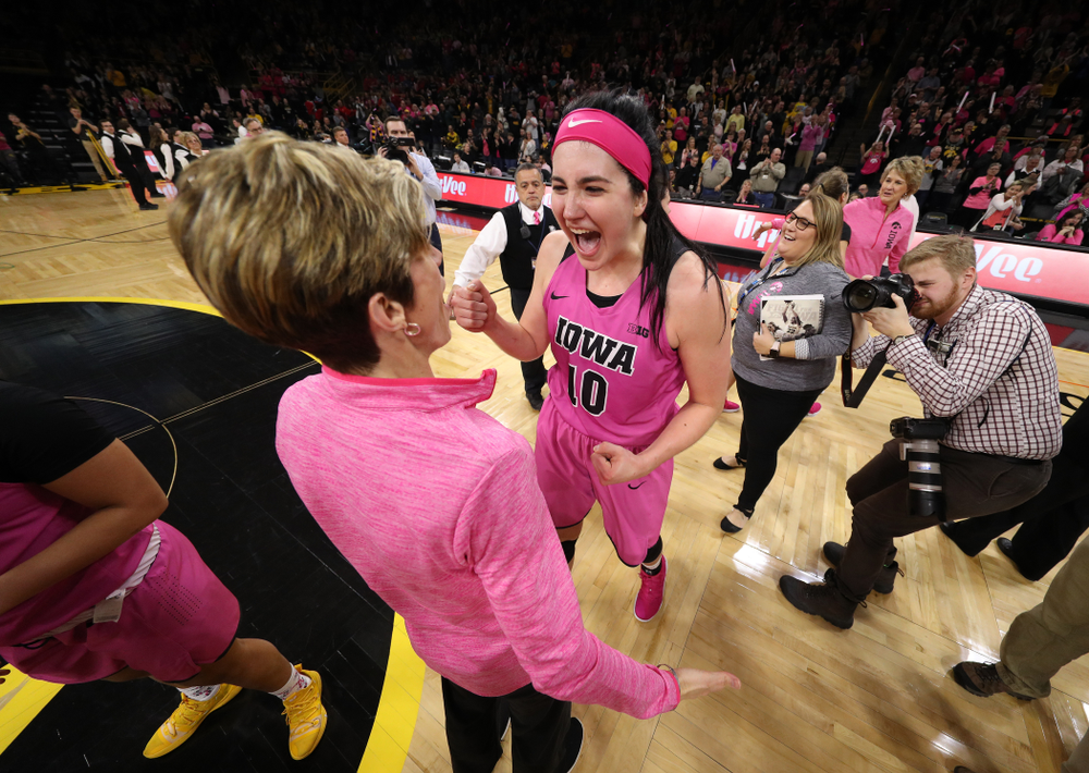 Iowa Hawkeyes forward Megan Gustafson (10) and associate head coach Jan Jensen against the seventh ranked Maryland Terrapins Sunday, February 17, 2019 at Carver-Hawkeye Arena. (Brian Ray/hawkeyesports.com)