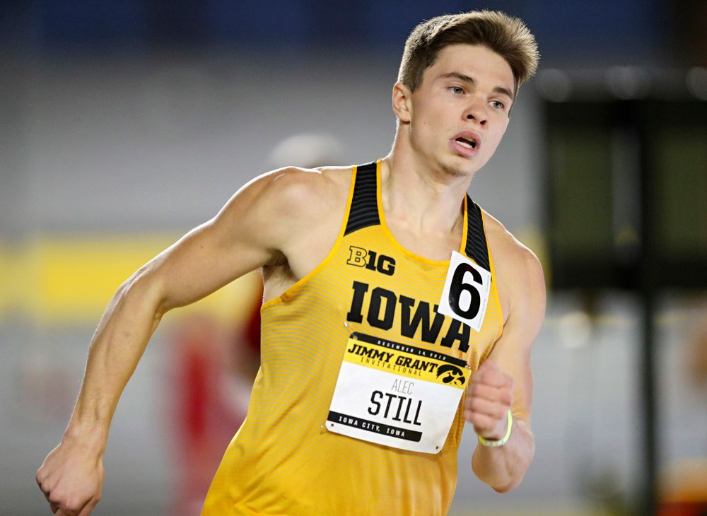 Iowa's Alec Still runs the men's 600 meter run event during the Jimmy Grant Invitational at the Recreation Building in Iowa City on Saturday, December 14, 2019. (Stephen Mally/hawkeyesports.com)