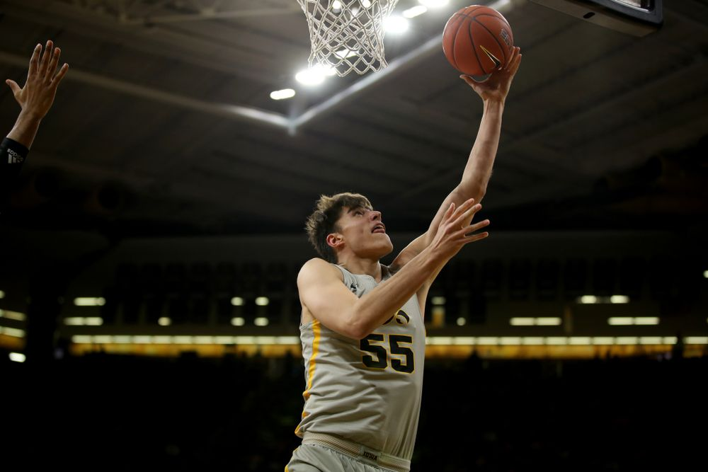 Iowa Hawkeyes forward Luka Garza (55) against the Nebraska Cornhuskers Sunday, January 6, 2019 at Carver-Hawkeye Arena. (Brian Ray/hawkeyesports.com)