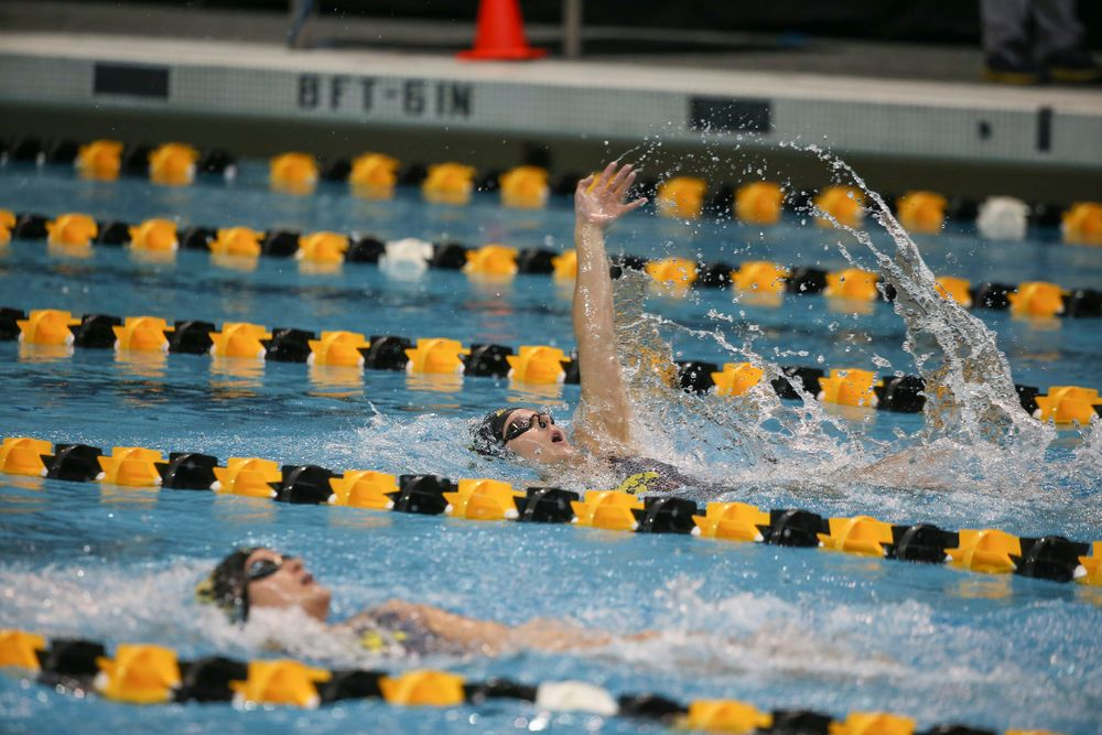 Iowa's Zoe Pawloski swims the 200-yard backstroke during the Iowa swimming and diving meet vs Notre Dame and Illinois on Saturday, January 11, 2020 at the Campus Recreation and Wellness Center. (Lily Smith/hawkeyesports.com)
